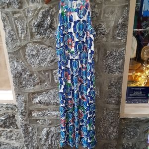 Women's Plus Retro Floral Sleeveless Maxi-Dress